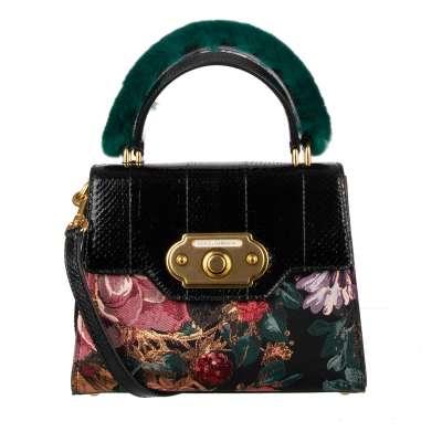 Snakeskin Brocade Baroque Floral Tote Shoulder Bag WELCOME Black