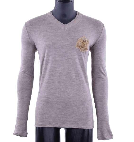 Schurwolle-Pullover mit Stickerei von CLASS ROBERTO CAVALLI