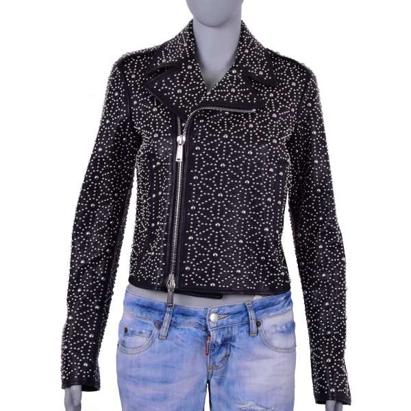 Biker Style Leather Jacket with many silver studs by DSQUARED2