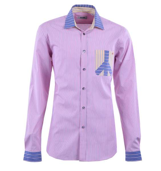 Striped Cotton Shirt with Contrast Collar by MOSCHINO First Line