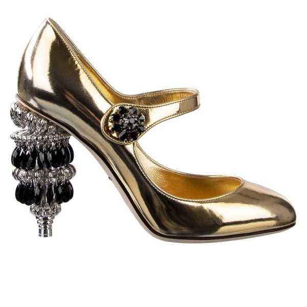 Mary Jane Pumps VALLY mit Kronleuchter Kristallen und Messing beschmücktem Absatz in Gold von DOLCE & GABBANA
