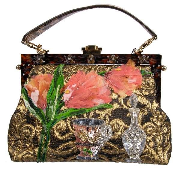 Clutch-Abendtasche / Schultertasche VANDA aus Brokat geschmückt mit Stickerei aus Tüll Pailletten und floralem Rahmen mit Blumen und Strass von DOLCE & GABBANA Black Label