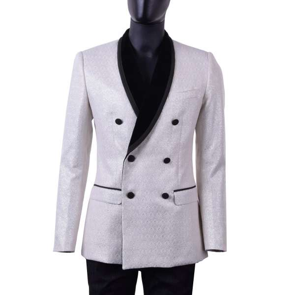 Double-breasted baroque style brocade tuxedo jacket with round velvet collar with shiny silver applications by DOLCE & GABBANA Black Label