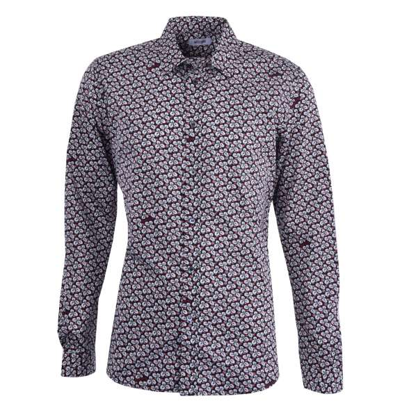 Floral Printed Cotton Shirt with Logo by MOSCHINO First Line