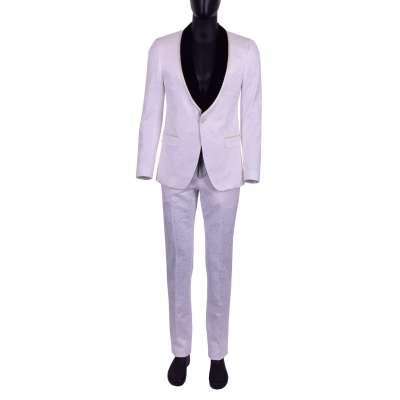 Jacquard and Velvet Suit White Black