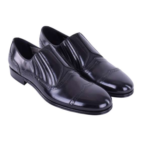 Elastic patent leather slippers MILANO by DOLCE & GABBANA Black Label