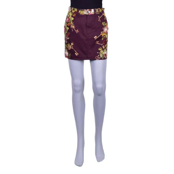 Mini denim skirt with keys and flowers print and 5 pockets by DOLCE & GABBANA Black Label