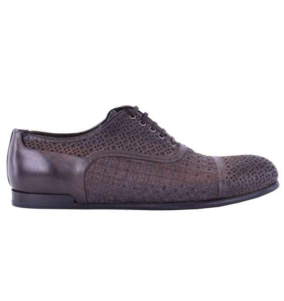 Gewebte Derby Schuhe SIRACUSA aus Kalbsleder im Gitter-Design aus Kalbsleder von DOLCE & GABBANA Black Label