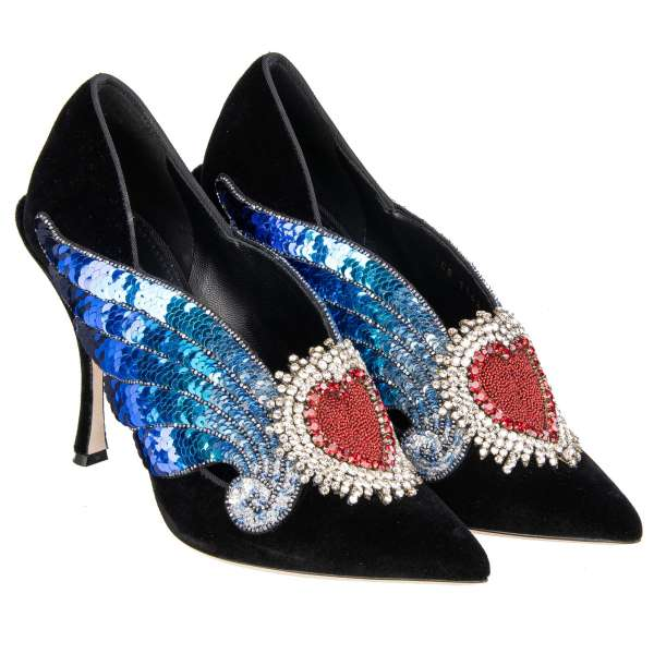 Pointed Velvet Pumps LORI in black with crystals and sequin Sacred Heart and Wings embroidery by DOLCE & GABBANA
