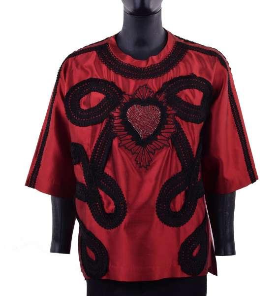 """Halbarm-Shirt """"Sacred Heart"""" aus Seide im spanischen Torero-Stil mit Stickerei von DOLCE & GABBANA Black Label"""