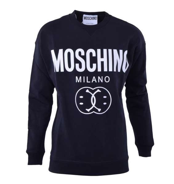 Sweatshirt with a large logo and smiley print by MOSCHINO COUTURE