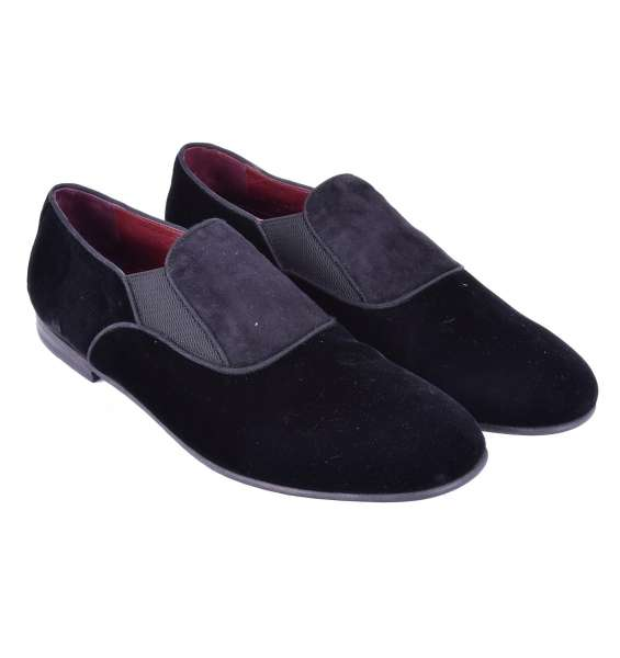 Elegant velour slip-on shoes AMALFI by DOLCE & GABBANA Black Label