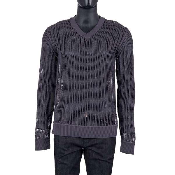 Gestrickter V-Ausschnitt Pullover aus Baumwolle mit Netzstruktur in Grau von DOLCE & GABBANA Black Label