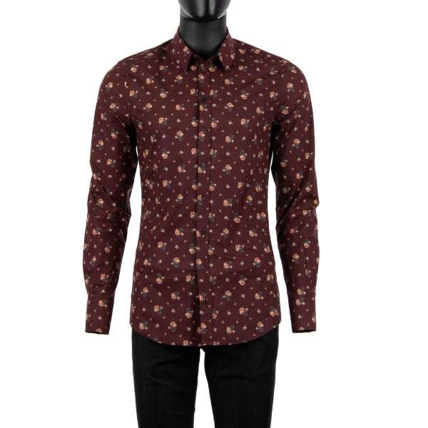 Roses printed shirt with short collar and cuffs by DOLCE & GABBANA - SICILIA Line