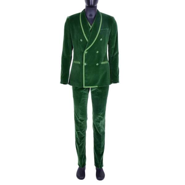 Double-breasted 3-pieces velvet suit with contrast lines at the revers and the waistcoat by DOLCE & GABBANA Black Line