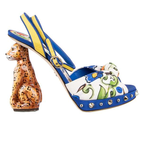 Majolica printed high heel sandals KEIRA with studded sole and hand painted wooden leopard heel by DOLCE & GABBANA