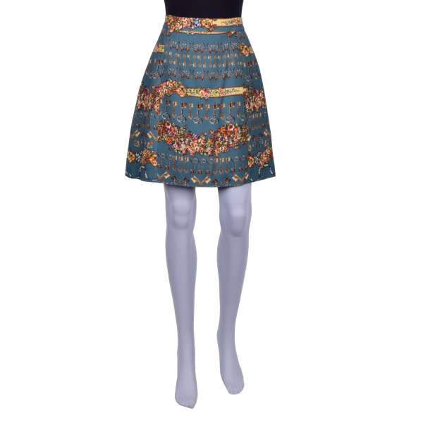 Wool and Silk skirt with gold keys and flowers print by DOLCE & GABBANA Black Label