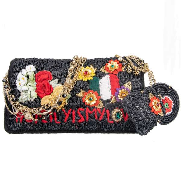 """Clutch / shoulder bag ROSA """"Sicily is my Love"""" made of wool and synthetic straw embellished with crystals, floral embroidery and messing applics by DOLCE & GABBANA Black Label"""