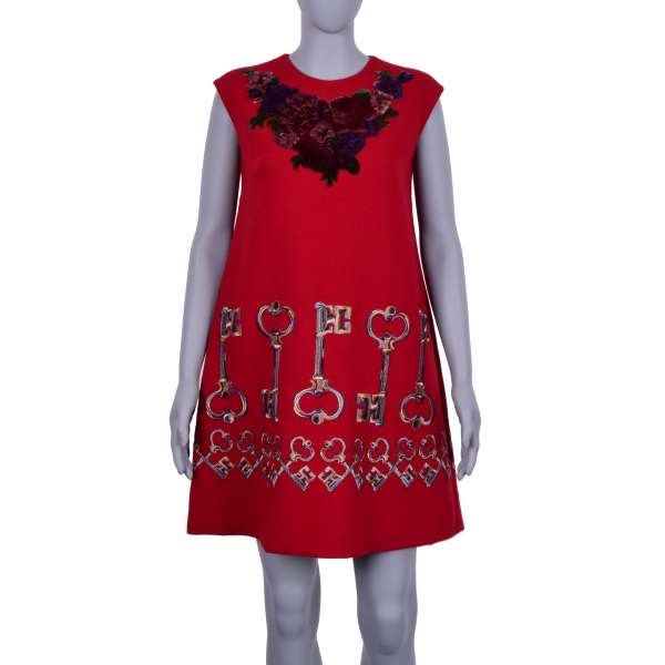 Baroque Dress with golden keys and velvet roses embroidery in red by DOLCE & GABBANA Black Label