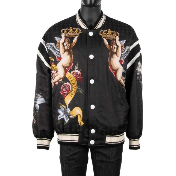"""Stuffed wide cut bomber jacket """"DG Heaven"""" with angels and flowers baroque print in black by DOLCE & GABBANA"""