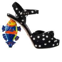 Fish Polka Dot Pumps Sandals Black