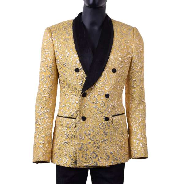 Double-breasted baroque style jacquard tuxedo blazer with velvet collar in yellow and gold tone by DOLCE & GABBANA Black Label