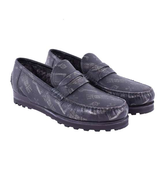 Fur lined dauphine leather moccasins GENOVA with keys print, logo and stable rubber sole by DOLCE & GABBANA Black Label