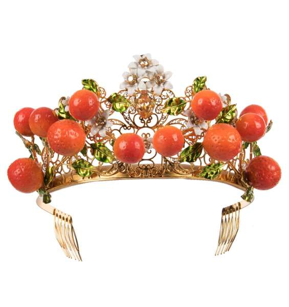 Filigree Floral Tiara Crown with hand painted oranges and crystals in Gold by DOLCE & GABBANA