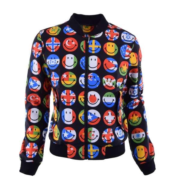 Jacke aus Nylon mit Aufdruck von Flaggen in Smiley Form von MOSCHINO COUTURE