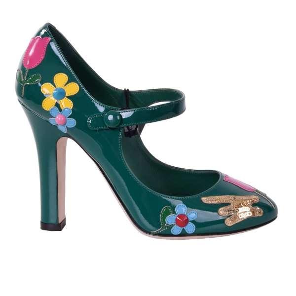 Lackleder Mary Jane Pumps mit Blumen Applikationen aus Leder und Pailletten von DOLCE & GABBANA Black Label