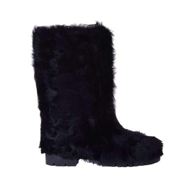 Flat Chekiang Lamb Fur and nappa leather Boots BIKER by DOLCE & GABBANA Black Label