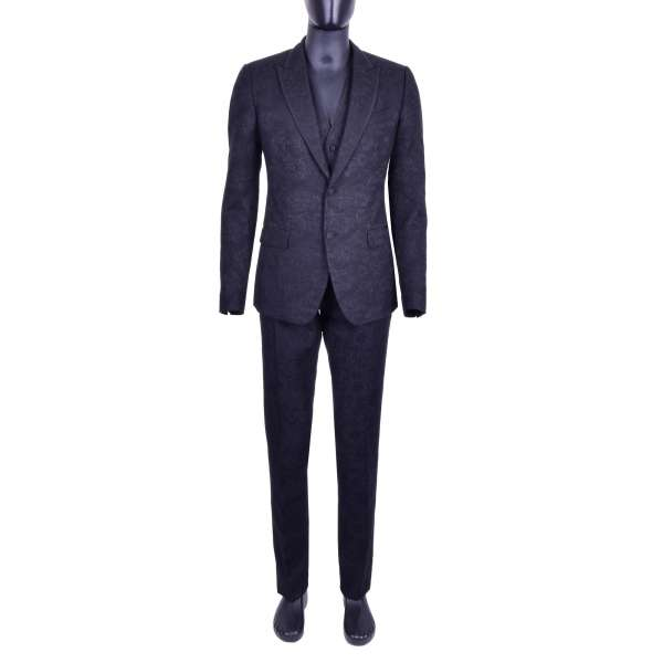 Floral brocade 3-pieces suit with silk contrast reverse stripes by DOLCE & GABBANA Black Line