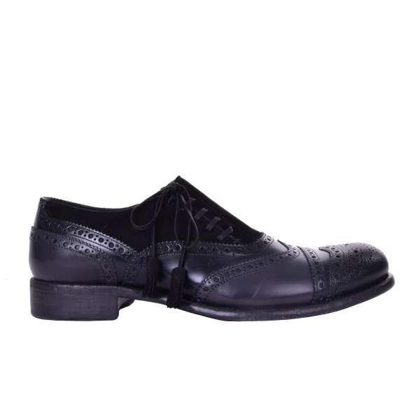 Oxford Schuhe TAORMINA aus Glattleder und Wildleder in Schwarz von DOLCE & GABBANA Black Label