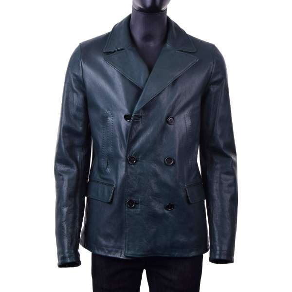 Double-breasted, stuffed lamb leather jacket with a wide collar by DOLCE & GABBANA Black Line
