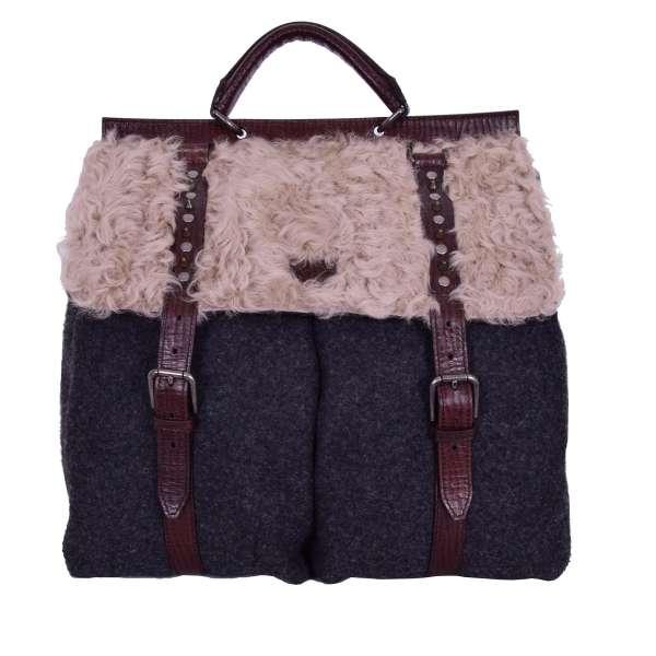 Rucksack / Weekender Tasche SICILY aus Stoff, Pelz und Leder mit Außentaschen, Nieten und Logo Schild von DOLCE & GABBANA