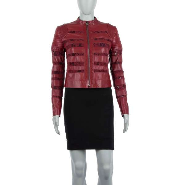 Leather Biker Jacket PRIORITY with floral lace in red by PHILIPP PLEIN COUTURE