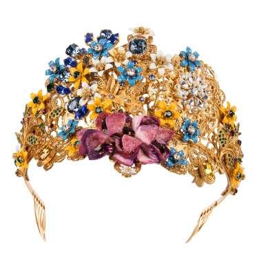 Blumen Kristall Diadem Tiara Krone Gold