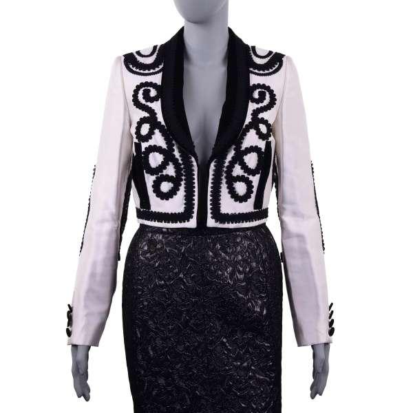 Embroidered spanisch torero style jacket / blazer made of silk and velour by DOLCE & GABBANA Black Line
