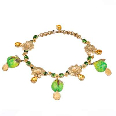 Feigen Collier mit Kristallen Gold Grün