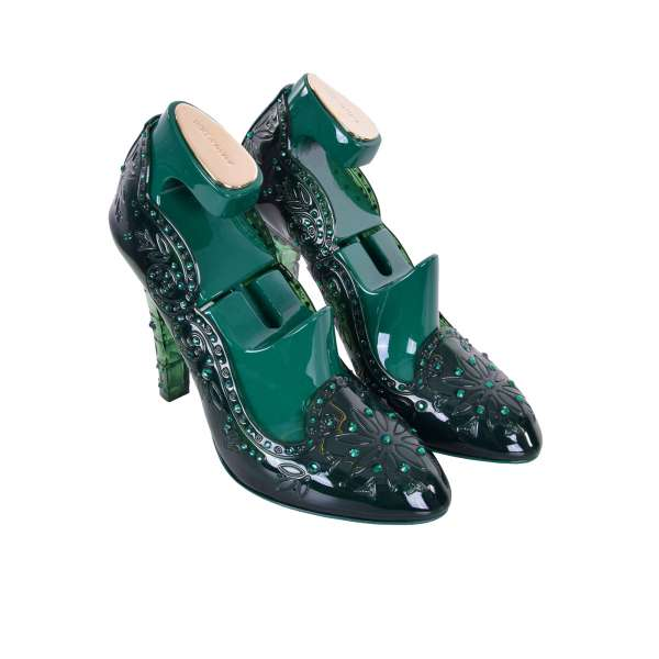 Cinderella Pumps made of PVC embellished with rhinestones including wooden green shoe stretchers by DOLCE & GABBANA Black Label