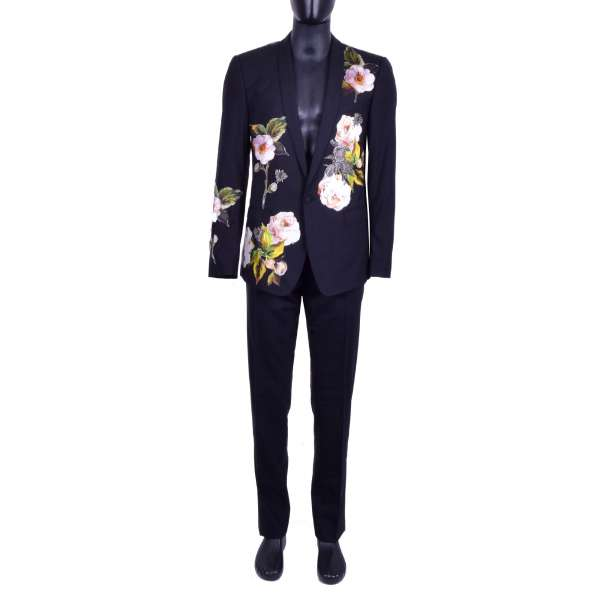 Virgin Wool suit with handmade floral silk applications and crystals bees and flower brooches by DOLCE & GABBANA Black Line