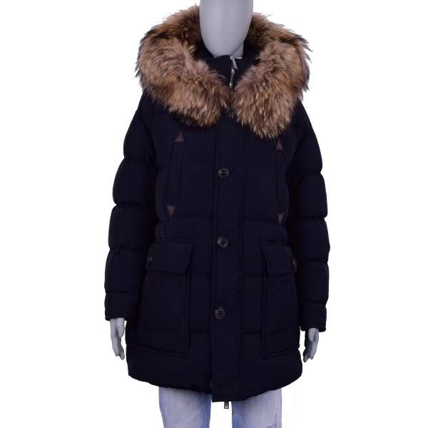 Long Real Down Parka Jacket CATEN BROTHERS with fur hood in black by DSQUARED2