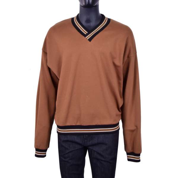 Wide Cut V-Neck Cotton Sweater / Sweatshirt with contrast lines in brown and black by DOLCE & GABBANA Black Line