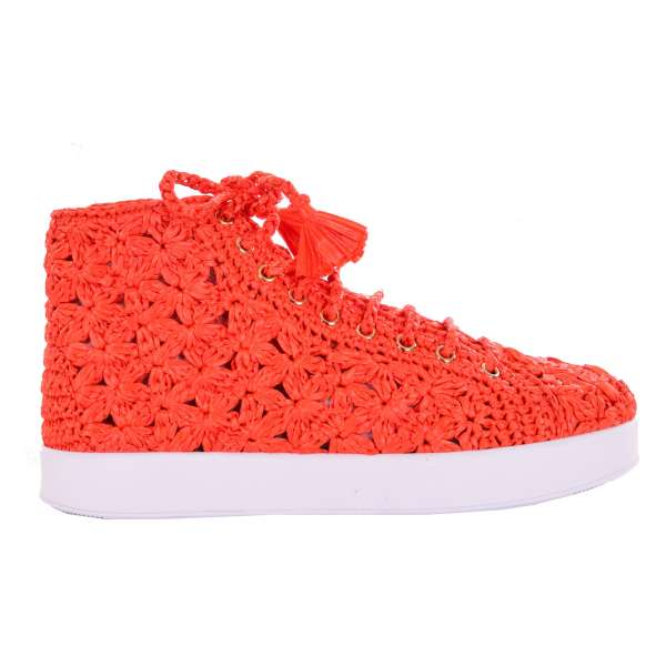 High-Top PORTOFINO Sneaker with embroidered Raffia in orange by DOLCE & GABBANA Black Label