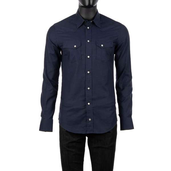 Cotton shirt with long collar and pockets in dark blue by DOLCE & GABBANA - SICILIA Line