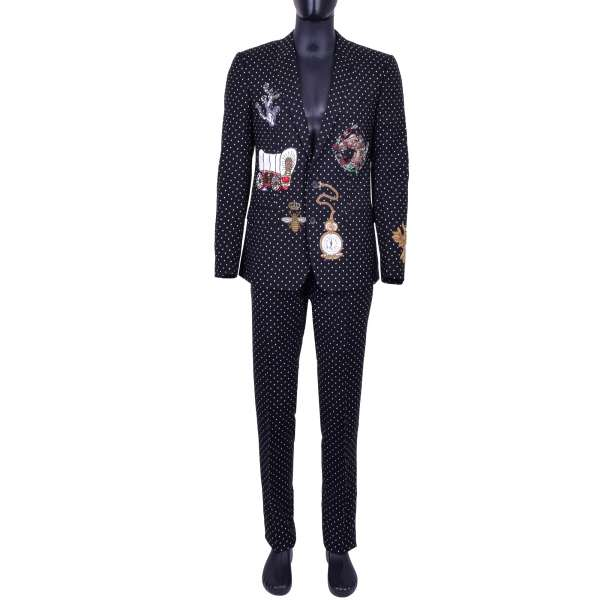 Virgin Wool suit with Polka Dot print and different crystals and copper embroidery by DOLCE & GABBANA Black Line