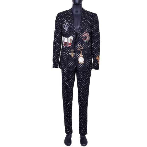 Anzug aus Schurwolle mit Polka Dot Print und verschiedenen Stickereien aus Kupfer, Messing und Kristallen von DOLCE & GABBANA Black Label