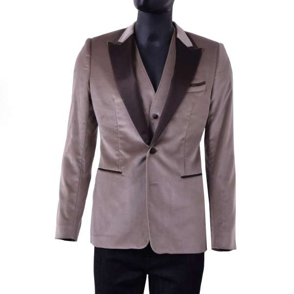 Velour tuxedo blazer with vest with a contrast brown silk collar by DOLCE & GABBANA Black Label
