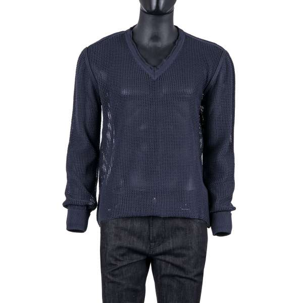 Knitted Net Structure Cotton V-Neck Sweater in blue by DOLCE & GABBANA Black Label