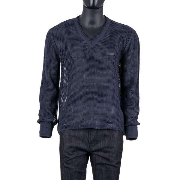 Gestrickter V-Ausschnitt Pullover aus Baumwolle mit Netzstruktur in Blau von DOLCE & GABBANA Black Label